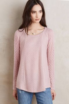 at anthropologie Feathered Lace Pullover - mauve