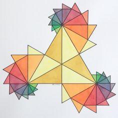 #Fractal #Fibonacci #geometry #symmetry #pattern #math #Escher #Art #warercolor #handmade Fractal Geometry, Geometry Art, Sacred Geometry, Fractal Art, Geometric Shapes Art, Geometric Drawing, Geometric Designs, Escher Kunst, Escher Art