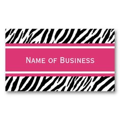 Modern Pink and Black Zebra Stripes Business Contact Card. Perfect to used for cosmetologist, hair stylist, beauty salon or fashion boutique. #businesscards #fashion #zebraprint #animalprint