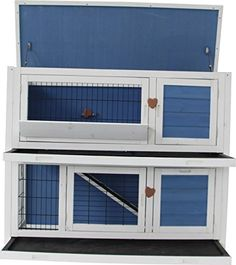 "MCombo 0323L Wooden Rabbit Hutch Small Animal House/Pet Cage/Chicken Coop, 40"", Blue"