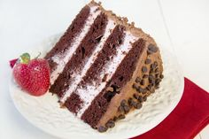 Chocolate Layer Cake with a Strawberry Mousse filling and a chocolate marscapone frosting