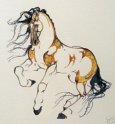 Beautiful horse from the watercolor original art of Sarah Lynn Richards
