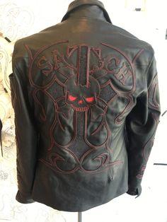 custom jacket for Satch jewelry By Logan Riese Custom Leather Jackets, Bike Leathers, Biker Wear, Skull Fashion, Riding Gear, Motorcycle Helmets, Biker Jackets, Vest Jacket, Men's Leather