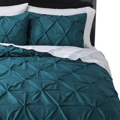 Threshold™ Pinched Pleat Comforter Set King size in Teal Teal Bedding Sets, Teal Comforter, King Comforter Sets, Black Bedding, Beautiful Bedding Sets, Bedroom Bed, Gray Bedroom, Master Bedroom, Bedrooms