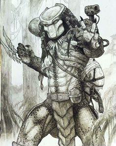Lessons That Will Get You In The arms of The Man You love Predator Tattoo, Predator Alien, Apex Predator, Predator Cosplay, Badass Drawings, Horror Drawing, Horror Artwork, Alien Concept Art, Horror Monsters