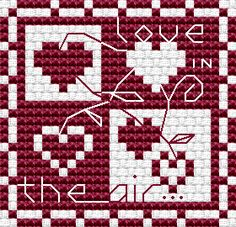 """Love is in the Air No 2,"" free cross stitch pattern from Alita Designs"