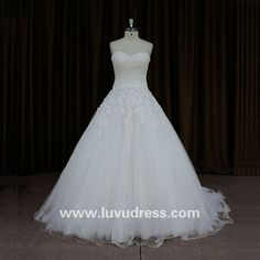 Spanish Lace High Quality Boob Tube Top Beaded Ball Gown Wedding Dresses