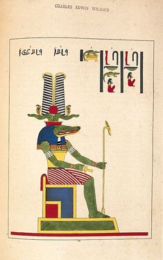 Sobek, the ancient Egyptian crocodile god of strength and power. His ferocious attributes led Sobek to become a patron of the Egyptian army, a defender of the Pharaoh, and the people of Egypt. Ancient Symbols, Ancient Art, Ancient Egypt, Egyptian Mythology, Egyptian Art, Egyptian Things, Sphinx Egypt, Egypt Travel, Science And Nature