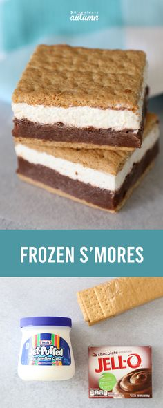 Easy frozen s'more sandwiches - It's Always Autumn Frozen s'mores are a great way to enjoy all the flavor of s'mores in a cold treat! Keep them in your freezer so you can enjoy them anytime. Köstliche Desserts, Frozen Desserts, Dessert Recipes, Autumn Desserts, Frozen Cake, Health Desserts, Yummy Treats, Sweet Treats, Recipes