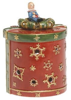 Amazon.com - Villeroy & Boch Christmas Toys 4-Inch Small Round Gift Box Decolight, Red - Seasonal Celebration Lighting