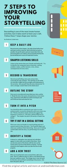 7 steps to improving your storytelling. Storytelling is one of the most innate activities, but it takes work to hone your craft. Follow these 7 steps to shape your stories.