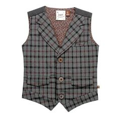 FORE Gray Heathered Plaid Vest. Wool look dress vest with maroon and black plaid accents for little boys. See More Outerwear at http://www.ourgreatshop.com/Outerwear-C200.aspx