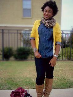 yellow cardigan. leopard scarf. Fall fashion. www.asliceofglam.com