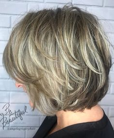 50 Modern Haircuts for Women over 50 with Extra Zing - 50 Modern Haircuts for Women over 50 with Extra Zing Metallic Bronde Bob with Feathered Layers Bronde Bob, Blonde Balayage Bob, Layered Bob Hairstyles, Hairstyles Over 50, Curly Hairstyles, Pixie Haircuts, Wedding Hairstyles, Boy Haircuts, Hairstyle Men