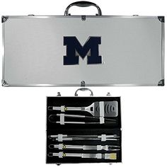 NCAA Michigan Wolverines 8 Piece BBQ Set wCase *** More info could be found at the image url.