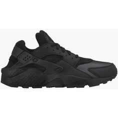 Nike Womens Air Huarache Run ($120) ❤ liked on Polyvore featuring shoes, athletic shoes, sneakers, evening shoes, kohl shoes, nike shoes, black leather shoes and holiday shoes
