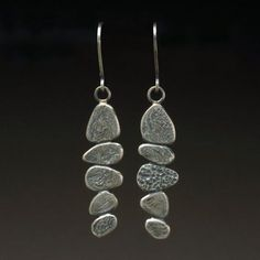 Pebble Dangle earrings Sterling Silver 925 by hammeredbywendy, $120.00