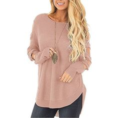 Womens Ladder Cutout Cold Shoulder Long Sleeve Loose Top Knit Pullover Sweater -- See this great product. (This is an affiliate link) #Sweaters