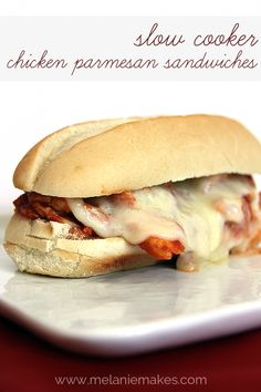Slow Cooker Chicken Parmesan Sandwiches | @Melanie Bauer Bauer Bauer at Melanie Makes.  I loved the recipe. It made a lot! Easy to follow directions. Probably won't make again because my family wasn't a big fan, but if I was bringing potluck, I'd definitely make because I thought it was tasty!