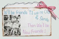 *W´ll be friends till we old and senile - then we´ll be new friends*    Das Schild ist im Shabby vintage look bemalt und kann mit dem Draht über...