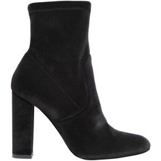 Steve Madden Women 100mm Editt Stretch Velvet Ankle Boots ($140) ❤ liked on Polyvore featuring shoes, boots, ankle booties, ankle boot, black, black velvet booties, short black boots, black velvet boots, high heel ankle boots and ankle boots