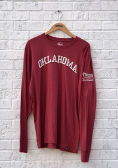 1fe6017f2 '47 Oklahoma Sooners Crimson Fieldhouse Long Sleeve Fashion T Shirt,  Crimson, 100%