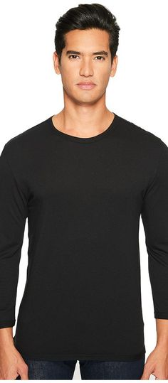 Vince Reverse Hem Cotton-Modal 3/4 Sleeve Crew (Black) Men's T Shirt - Vince, Reverse Hem Cotton-Modal 3/4 Sleeve Crew, M39639290-001, Apparel Top Shirt, T Shirt, Top, Apparel, Clothes Clothing, Gift, - Fashion Ideas To Inspire
