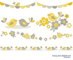 Song Birds Clip Art Grey and Yellow by TracyAnnDigitalArt on Etsy