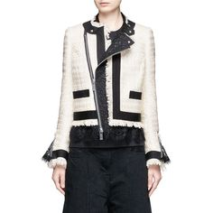 Sacai Guipure lace frayed Summer tweed jacket (28.922.235 IDR) ❤ liked on Polyvore featuring outerwear, jackets, white, zipper jacket, colorful jackets, white summer jacket, white lace jacket and multi colored jacket