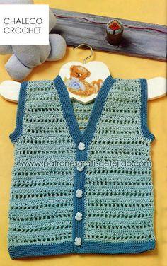 como tejer chaleco para bebe paso a paso con gancho Crochet Baby Poncho, Crochet Vest Pattern, Crochet For Boys, Crochet Patterns, Baby Dress Patterns, Baby Knitting Patterns, Baby Boy Vest, Crochet Flower Tutorial, Crochet Videos