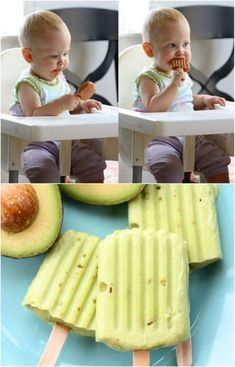 Homemade Avocado Baby Food Popsicles #babyfood