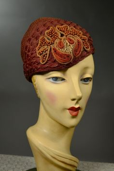 RUSTY BROWN HORSEHAIR 20's/30's VINTAGE HELMET/CLOCHE - APPLIED BEADED MEDALLION.  SOLD  at rpvintage.com.
