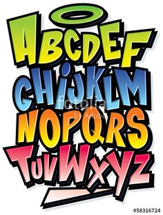 Lettering Fonts Discover Funky colorful cartoon font type Vector alphabet - Millions of Creative Stock Photos Vectors Videos and Music Files For Your Inspiration and Projects. Graffiti Alphabet Styles, Graffiti Lettering Fonts, Graffiti Styles, Creative Lettering, Lettering Styles, Hand Lettering, Typography, Graffiti Drawing, Graffiti Wall