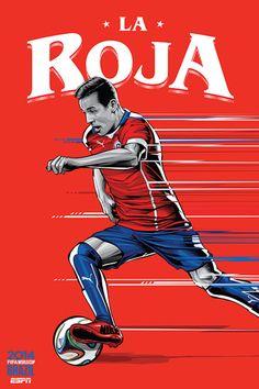 Póster de #CHI del #Mundial2014, por el artista brasileño Cristiano Siqueira