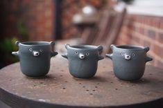 Zoo Keeper, Dark Blue Green, Sugar Bowl, Afternoon Tea, Bowl Set, Stoneware, Pots, Bear, Ceramics