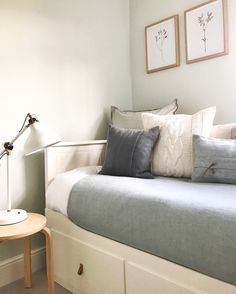 A calming guest bedroom, using Farrow and Ball Pale Powder.