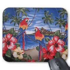 Tropical Island Beach Scene. Unique, fashionable, trendy, pretty and whimsical mouse pad. With beautiful and colorful red, yellow, orange and blue colored Macaw parrots in an exotic landscape setting with tropical palm trees, Hawaiian Hibiscus flowers, a sandy beach and a blue ocean against a bright summer azure sky. For the lover of nature, birds, wildlife, animals and the tropics. Cute and fun girly girl's or mom's birthday present or Christmas gift. Classy, chic, elegant and cool…