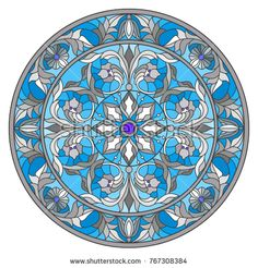 Illustration in stained glass style, round mirror image with floral ornaments and swirls Glass Painting Designs, Paint Designs, Tile Art, Mosaic Tiles, Gothic Windows, Vector Border, Devian Art, Pottery Designs, Stained Glass Patterns