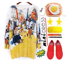 """Printed mini dress"" by simona-altobelli ❤ liked on Polyvore featuring Alexis Bittar, Mariah Rovery, Bourjois and Smith & Cult"
