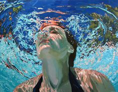 Samantha French- MN artist  Her work explores memories from her childhood spent swimming in lakes of northern Minnesota. The underwater portraits portray people both in and out of water in the midst of perfect tranquil moments captured gracefully with oil paints.