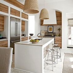 Go with the Grain - Unique Kitchen Surfaces - Coastal Living Beautiful Kitchens, Cool Kitchens, Dream Kitchens, Open Plan Kitchen, Kitchen Ideas, Kitchen Planning, Kitchen Layout, Kitchen Inspiration, Kitchen Designs