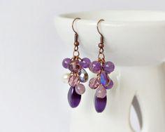 Amethyst earrings dangle earrings purple earrings cluster