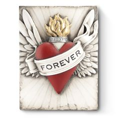 Forever: Sid Dickens Originals Handmade Memory Blocks (R) Ceramic Tile Art, Forarm Tattoos, The Artist, Catholic Crafts, Heart With Wings, Liv Tyler, Forever, Heart Art, Wall Plaques