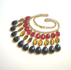 Lucite Crystal Statement Necklace Dramatic Red by myfaunaflora, $82.00