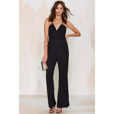 Glamorous Strictly Disco Jumpsuit ($31) ❤ liked on Polyvore featuring jumpsuits, black, black jumpsuit, halterneck jumpsuit, black jump suit, wide leg jumpsuit and halter top
