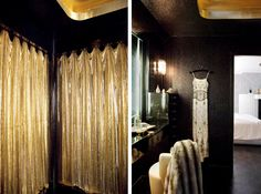 dress?  glamorous hollywood style dressing room with liquid mesh curtain, black glitter wallpaper,  From the Desk of Lola, Remodelista