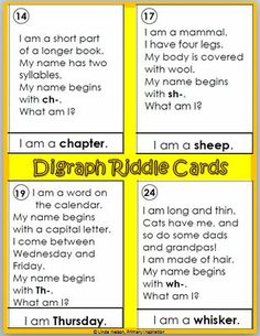 24 riddle cards for words that start with consonant digraphs, plus a Read the Room activity and Four in a Row game using the same words.   $ Funny Jokes And Riddles, Word Riddles, Riddles With Answers, Funny Jokes To Tell, Word Puzzles, Social Skills Activities, Preschool Learning Activities, Deep Conversation Topics, Trivia Questions For Kids