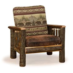 Rustic Hickory Arm Chair *Bear Mt. Fabric* Amish Made USA (Rustic Hickory  Arm Chair *Bear Mt. Fabric*), Brown (Faux Leather)