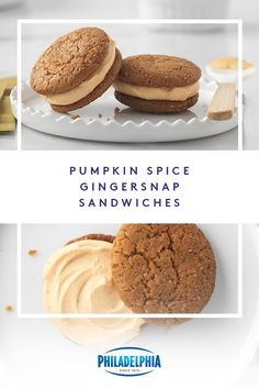 Try these simple, two-ingredient Pumpkin Spice-Gingersnap Sandwiches. The richness of PHILADELPHIA Pumpkin Spice Cream Cheese Spread paired with gingersnap cookies is all you need this fall. Pumpkin Recipes, Fall Recipes, Holiday Recipes, Fall Desserts, Delicious Desserts, Yummy Food, Halloween Desserts, Halloween Treats, Baking Recipes