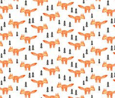 watercolor orange fox    woodland fabric fabric by littlearrowdesign on Spoonflower - custom fabric